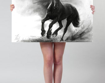 Horse drawing LARGE wall ART print, galloping black horse in storm home decoration, black horse illustration, large horse art print