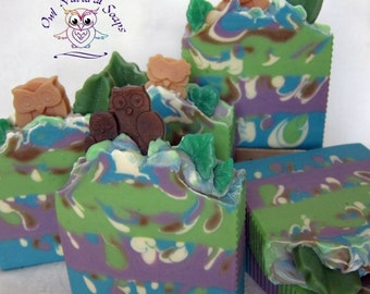 Happy Owl/goat milk soap, handmade soap, natural homemade soap, handcrafted artisan soap, pretty gift soap, fruit scented soap, owl soap