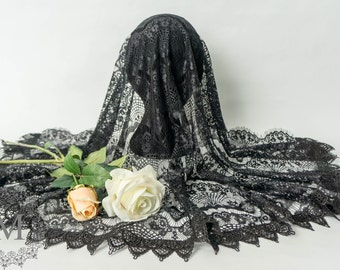 Black Lace Mantilla / Veil / Chapel Cap with Black Trim and Front Scalloped Fringed Edge