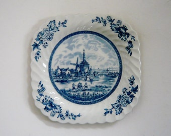 Johnson Brothers Tulip Time Blue Square Salad Plate