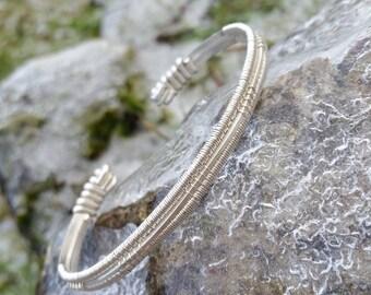 Sterling Silver Cuff >< Wire Wrap Bracelet >< Silver Cuff >< Wire Wrapped  Jewelry >< Bracelet >< Woven Bracelet >< Handmade Jewelry