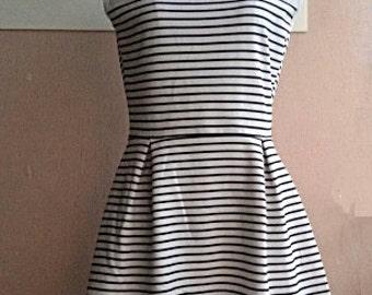 S - Summer Mini Dress - 90s Sleeveless Holiday Dress - Black White Stripe Nautical Dress - Korean Vintage