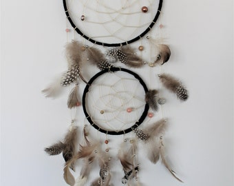 Double Black, Pink, and Brown Feather Dreamcatcher by DreamMaze