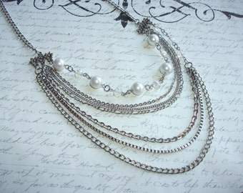 Multi strand stainless steel chain necklace with pearls and crystals