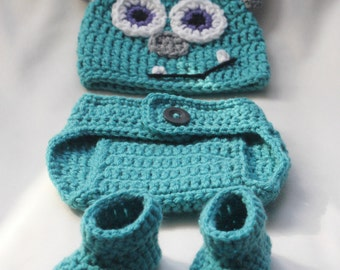 Crochet Monster Hat, Diaper Cover, and Booties Set. 0-3, 3-6, 6-12 months. Photo Prop.