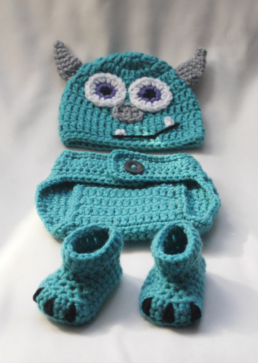 Crochet Monster Hat and Diaper Cover Set PATTERN. 0-3 3-6