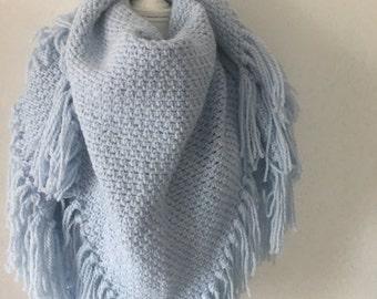 Handmade shawl baby blue
