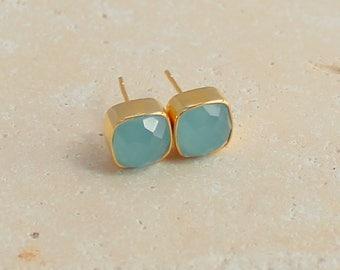 Aqua Chalcedony Stud Earrings - Gemstone Post Earrings - Cushion Stud Earrings - Square Stud Earrings - Gemstone Stud Earrings - 8mm Studs