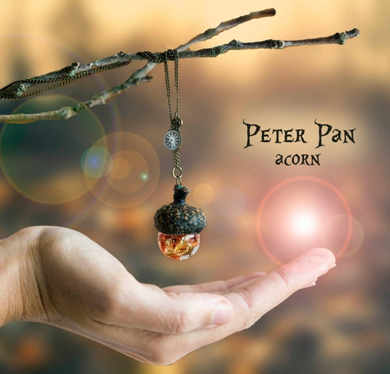 Peter Pan Acorn necklace with water and gold leaf flakes -magic water- oak leaf disney neverland autumn vintage