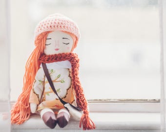 Handmade doll, girl doll, Cloth doll, Hand embroidery
