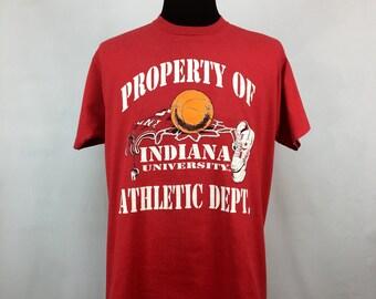 Vintage indiana university hoosiers iu crewneck sweatshirt for Indiana basketball t shirt