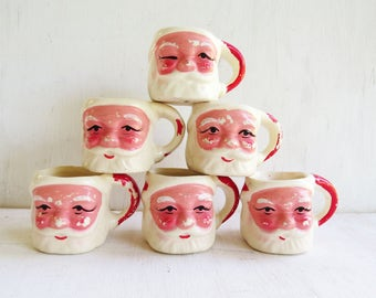 "6 Vintage small  Santa Claus mugs/cups- cute little Santa mugs- made in Taiwan "" ceramic cups-"
