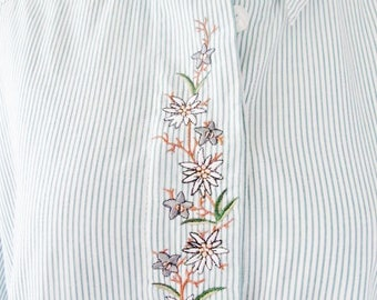 TRACHTEN SHIRT, Alpine, Edelweiss, Enzian, Green Stripes, Cotton Blend, Size 42 (US 12), Embroidery, Austrian, Bavarian, Swiss