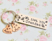 Mothers Day Gift Idea, Grandma Keyring, Personalised Nanna Gift, From Grandchildren, Ellis & Pip, We Love You, Butterfly, Heart Keyring