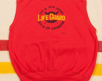 80s Vintage Palm Springs CA Lifeguard Sleeveless Crewneck Sweatshirt Size L Escargot Department of Sun & Recreation