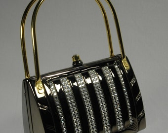 Judith Leiber Style Evening Bag Pewter Rhinestone Structured Metal Handbag