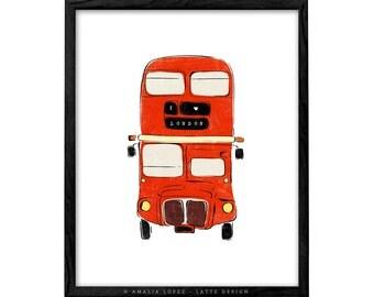 London print London bus print London poster London bus poster I love London print Double Decker Red Bus Illustration print bus illustration