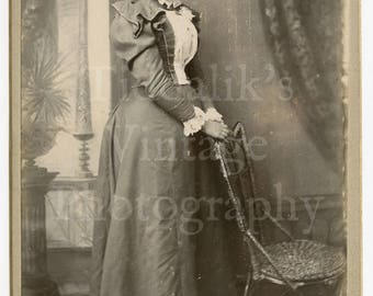 Cabinet Card Photo Standing Victorian Lady with High Back Chair - F G Hawke of Hallaton England