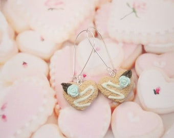 earrings heart biscuit polymer clay