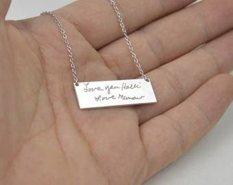 Handwriting necklace-silver handwritng jewely-Personalized gift for women-Anniversary gift