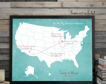 """Wedding Guest Book Alternative, Love Story Map, United States Map, Your Story Map, Wedding Gift Map, Custom Map, US Map, up to 30"""" x 40"""""""