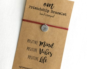 Friendship Bracelet OM symbol Hand Stamped silver disc ~ Waxed Cotton Cord ~ Positive Mind, Vibes, Life ~ adjustable choose a color