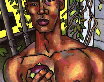 The Apple, 23x33 original acrylic painting of shirtless young man with apple