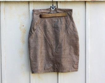 Brown Leather Skirt - Distressed Leather Skirt - High Waist Mini Skirt - 90s Grunge Skirt - Biker Chick Skirt - Boho Hippie Skirt - 1990s