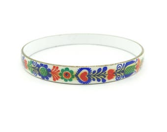 Vintage Austrian Enamel Bangle, Hand Painted, Enamel on Copper, Bold Colors