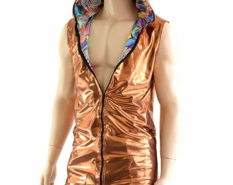 Mens Sleeveless Zipper Front Copper Mystique Hoodie Shirt lined with Tropical Swirl (FULLY LINED) Rave Festival Clubwear Burning Man 154070