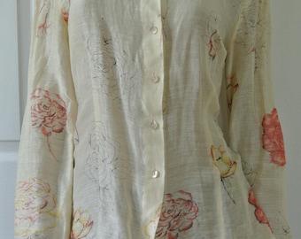 Oscar de la Renta Blouse Creamy Linen and Silk Coral and Yellow Roses Size 4