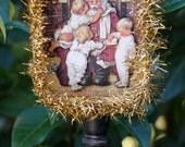 RESERVED, Santa and the Twins, Altered Tin, Custom Order, 3D Art, Original Art, Mixed Media, Altered Tin