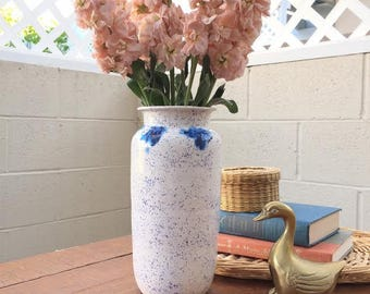 Vintage Blue and White Shibori Vase // pottery ceramic, boho decor, gift for her, spotted, speckled, tie-dye, tall flower holder, container
