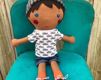 Customized Doll, Personal Dolls, Cute Dolls, Dolls for Boys, My Boy Doll, Boy Rag Doll, Trucks, Blue Eyes Brown Hair