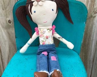Trendy  Gift for Teen Girl, Hipster Rag Doll With Tattoos, OOAK Heirloom Keepsake Doll, Handmade Cloth Doll, Gift for Her