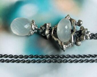 925 Silver Fantasy-Necklace with  a milky Quartz  Pendant