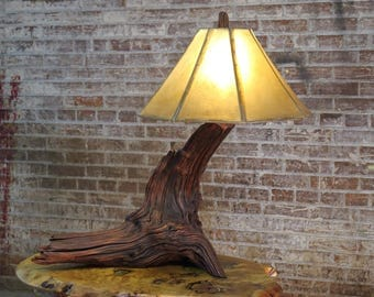 Smoke Tree Driftwood Table Lamp - Rustic Upcycled or Reclaimed Natural Log Wood Lighting