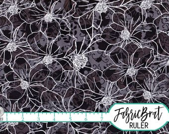 BLACK FLORAL Fabric by the Yard, Fat Quarter Black & White Fabric Abstract Fabric 100% Cotton Fabric Quilting Fabric Apparel Fabric w1-23