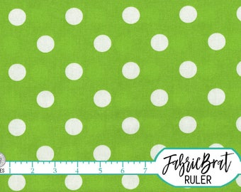 LIME GREEN Polka Dot Fabric by the Yard, Fat Quarter White Dot on Lime Green Fabric 100% Cotton Fabric Quilting Fabric Apparel Fabric w7-24