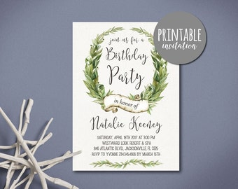 Greenery Birthday Invitation, Women Birthday Invitation green leaves, Adult Birthday Invitation Printable Birthday Invitation Botanical