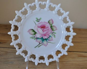 Vintage Lefton Milk Glass and Hand Painted Rose Plate With Reticulated Fleur de Lis Border. Beautfiul!
