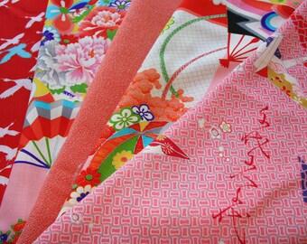 Red /Mix pack Kimono fabric/  Vintage Kimono fabric / 1-B