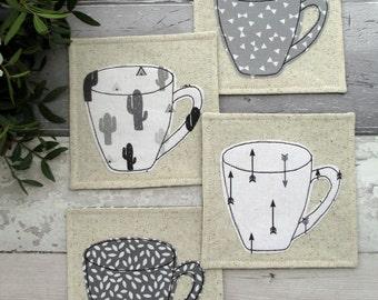 Coaster Set, Mug Coasters, Monochrome Coasters, Cactus Coasters, Arrow Coasters, Housewarming Gift, Modern Decor, Coffee Coasters