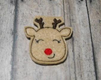 Smiling Reindeer felties - feltie - Machine embroidered - felt applique - felt embellishments - machine embroidered - scrapbook
