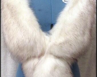 Luxury Long Pile , Off White Faux Fur Stole