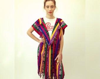 Isla Vista Tunic // vintage 70s 1970s ethnic boho hippie dress shirt blouse cardigan hipster oversize woven rainbow jacket cotton // O/S
