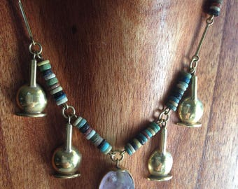 Egyptian Amethyst Scarab Necklace Faience Beads 18K Yellow Gold Amphoras Vintage