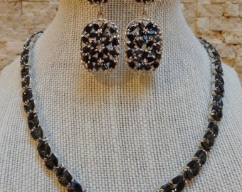 Beautiful Sapphire necklace in Sterling Silver, 16 inch