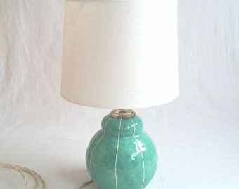 Small ceramic lamp with bird finial. Unique bedside lamp. White shade. Scandinavian style. Luxury design, interior lighting. Kri Kri Studio