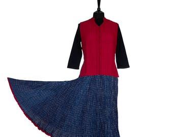 INDIGO DYED Block Printed Crinkle SKIRT - One size 8 to 18 - Indigo with small off white spots